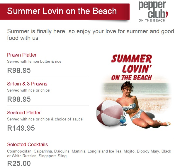 Pepper Club on the Beach Summer Special
